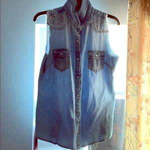 Light washed bedazzled denim jean button up vest